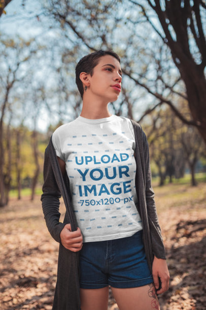 Mockup of a Woman with a Neck Tattoo Wearing a T-Shirt 20723
