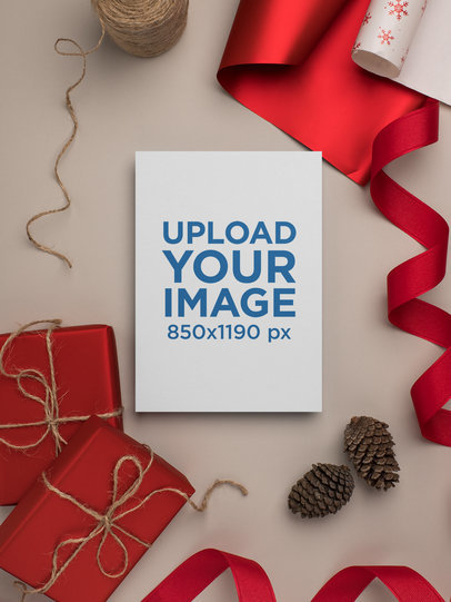 Mockup of a Stylish Christmas Greeting Card 23816