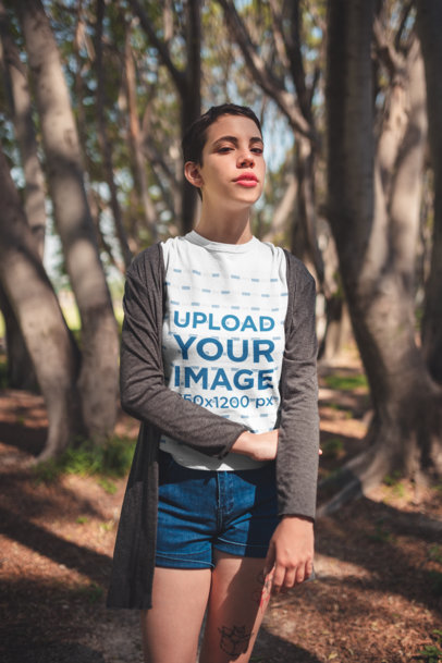 Mockup of a Woman with a Pixie Cut Wearing a Tee Outdoors 20725