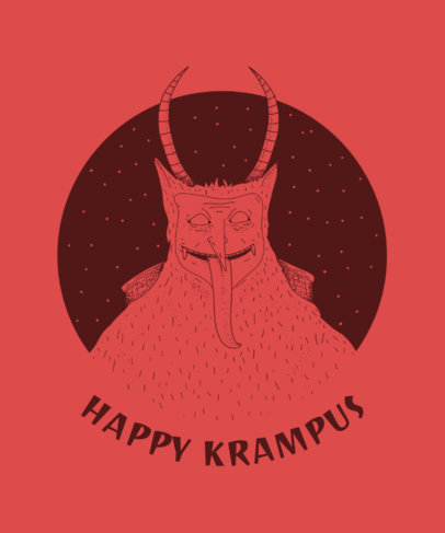 Krampus T-Shirt Design Template for Christmas 825c