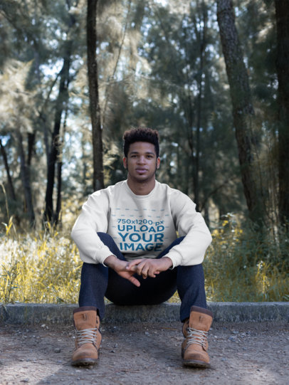 Crewneck Sweatshirt Mockup Featuring a Stylish Man in the Countryside 23186