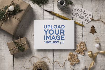 Rustic Mockup of a Christmas Holiday Greeting Card 23826
