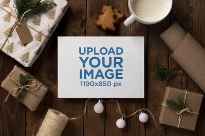 Mockup of a Christmas Holiday Greeting Card with Wrapped Gifts 23827