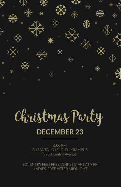 Christmas Party Flyer Template in Black and Gold 849