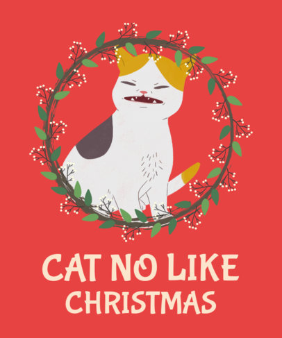 Christmas Cats T-Shirt Design Template 828d