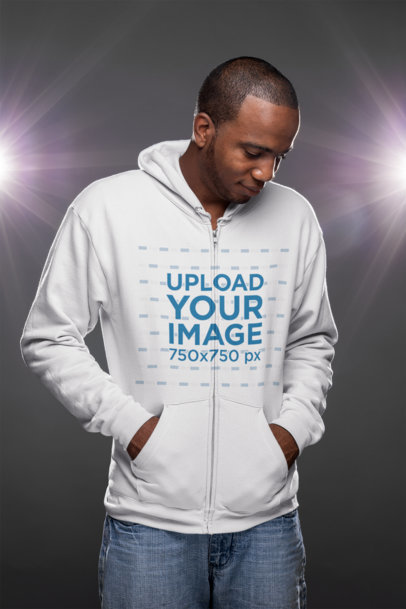 Full Zip Hoodie Mockup of a Serious Man with a Fresh Haircut 23388