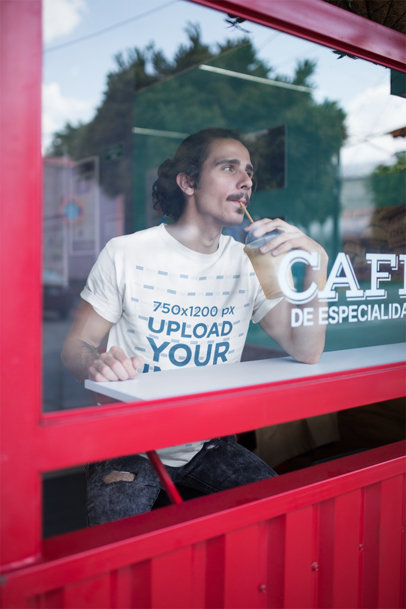 Tee Mockup of a Man Drinking Iced Coffee 20146