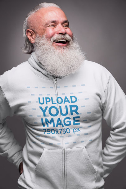 Full Zip Hoodie Mockup Featuring a Senior Man Having Fun at the Studio 23366
