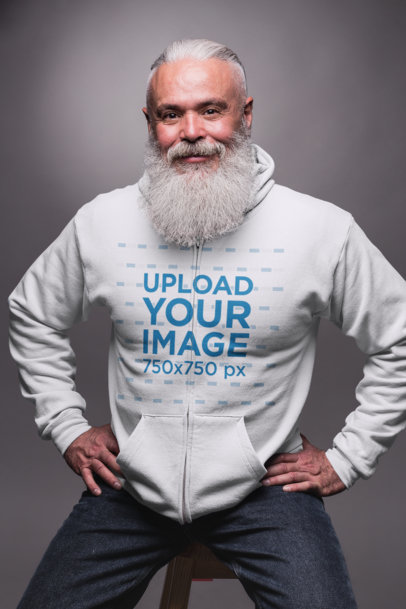 Full Zip Hoodie Mockup Featuring a Smiling Muscular Senior Man 23369