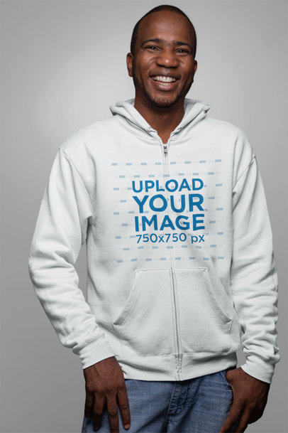 Full Zip Hoodie Mockup Featuring a Smiling Man 23402