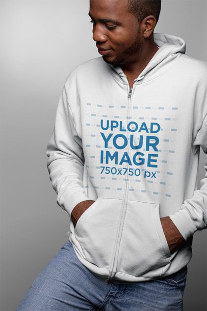 Full Zip Hoodie Mockup of a Serious Man Looking to the Left  23404