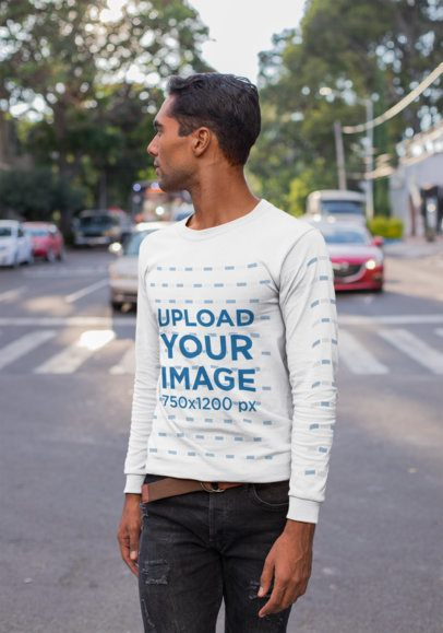 Long Sleeve Tee Mockup of a Man Looking Over his Shoulder on the Street 23343