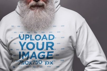 Mockup of a Senior Man With a Long Beard Wearing a Zip Up Hoodie 23371