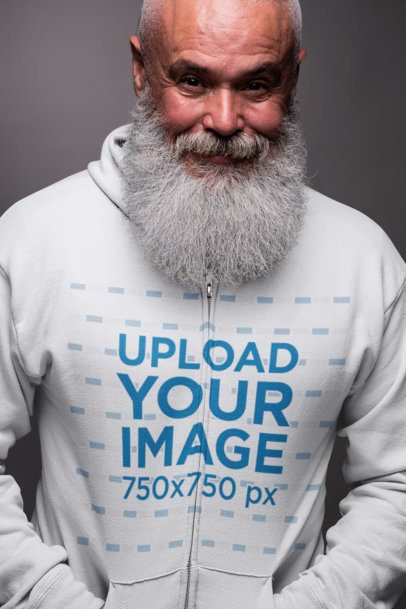 Full-Zip Hoodie Mockup of a Man with a Thick White Beard 23372