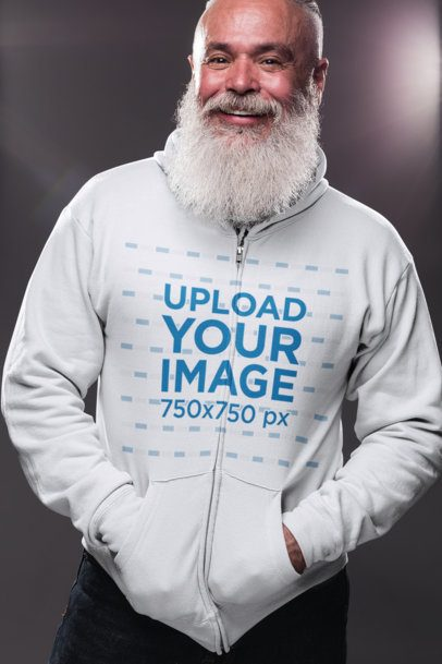 Zip-Up Hoodie Mockup Featuring a Senior Man with a Cool Beard 23375