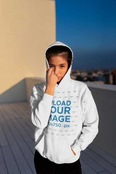Pullover Hoodie Mockup of a Beautiful Young Woman on the Rooftop 23313