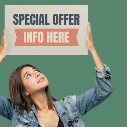 Web Banner Design Template of a Girl Holding a Banner Ad 872a