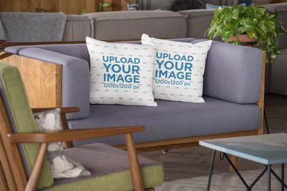 Mockup of Two Square Pillows on a Sofa 23544