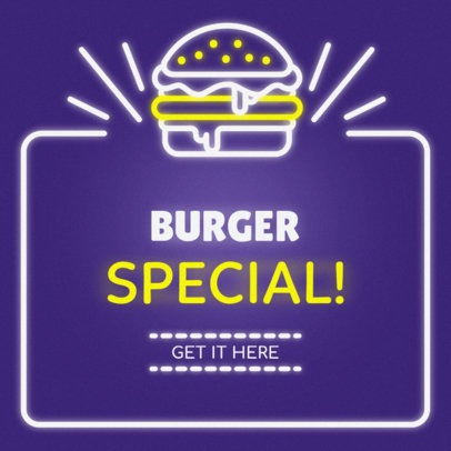 Online Banner Maker with Neon Burger Sign #311c