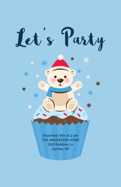 Christmas Flyer Template with Polar Bear Cartoon 840c