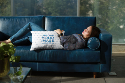 Pillow Mockup of a Woman Chilling on a Sofa in Her Apartment 23615