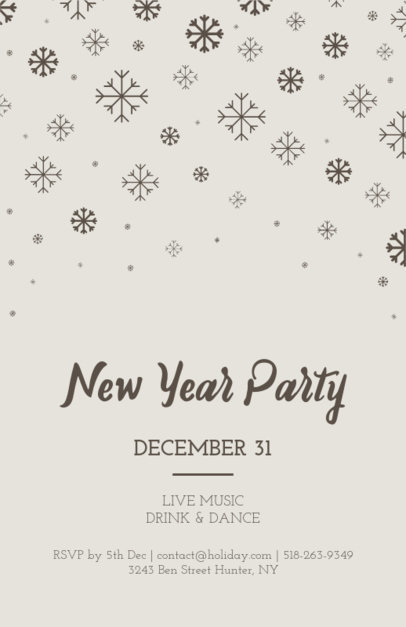 New Year's Eve Flyer Template with Snowflakes Illustration 849e
