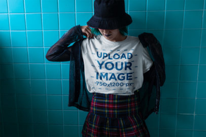 T-Shirt Mockup of an Alt Girl Against Wall Tiles 23440