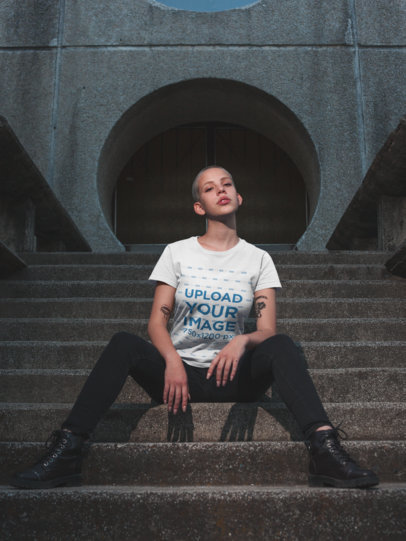 Mockup of a Trendy Girl with Tattoos Wearing a T-Shirt on Street Stairs 18123
