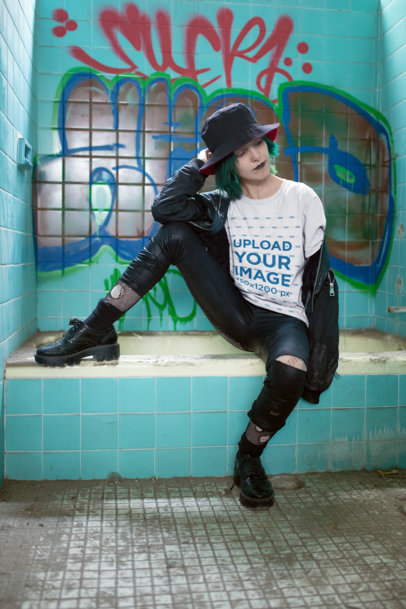 Mockup of a Goth Woman with Blue Hair Wearing a Tee 23438