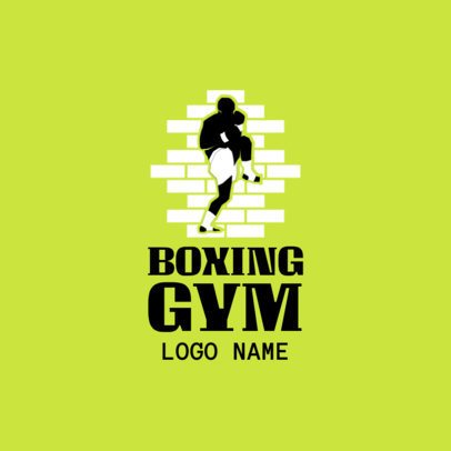 Boxing Gym Logo Design Template with Muay Thai Graphics 1583e