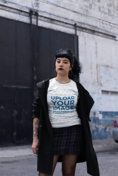 T-Shirt Mockup of a Goth Girl Standing in an Urban and Industrial Scenario 23411
