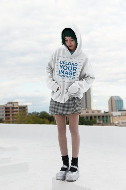 Pullover Hoodie Mockup of a Goth Girl Wearing Platform Shoes on a Rooftop 23453