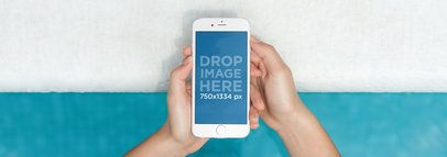 iPhone 6 Mockup Template Against a White and Blue Backdrop a4812