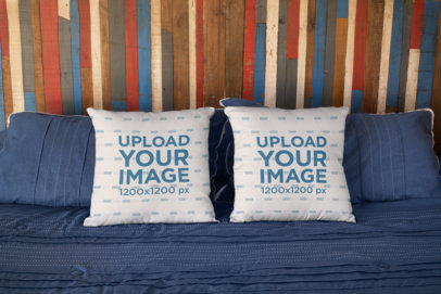 Mockup of Two Pillows on a Bed 23567