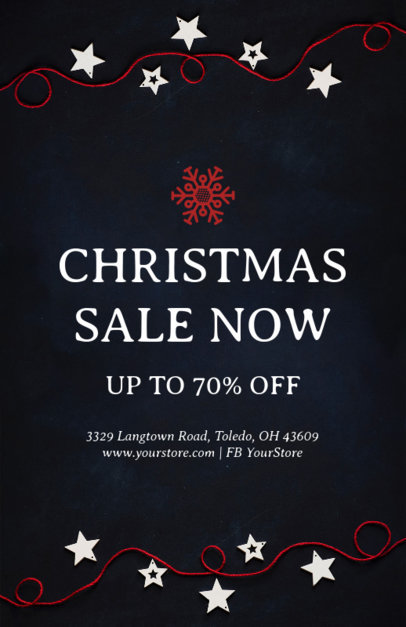 Christmas Sale Flyer Design Template in Black for a Holiday Sale 853a