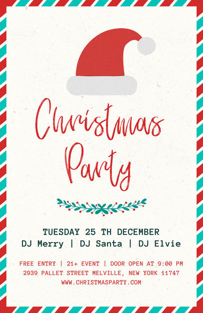 Christmas Party Flyer Template with a Santa Hat Illustration 843