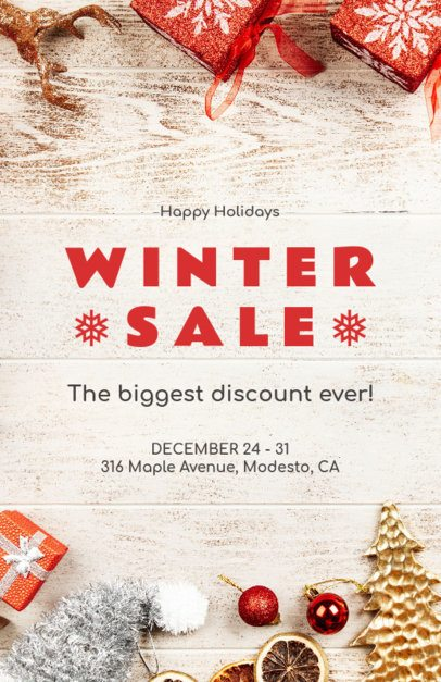 Christmas Sale Flyer Maker with Winter Ornaments for a Holiday Sale 853c
