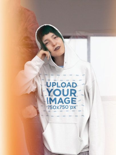 Pullover Hoodie Mockup of a Girl with Gothic Style 23451