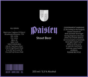 Stout Beer Label Design Template 772d