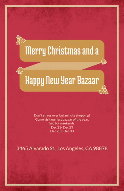 Holiday Flyer Template for a Christmas and New Year's Eve Bazaar 867c