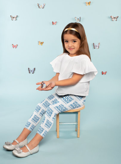 Leggings Mockup Featuring a Little Girl Holding a Butterfly 23907