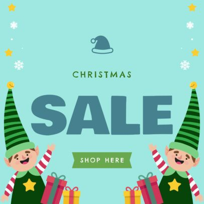 Christmas Sale Banner Maker with Elf Icons 781a