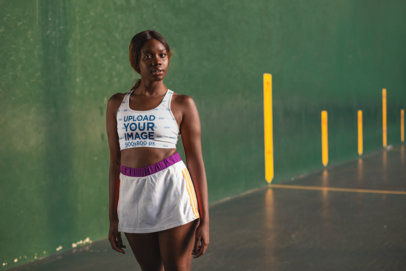 Sports Bra Mockup of a Girl at a Fronton Court 23638