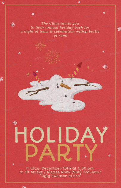 Xmas Flyer Maker for a Holiday Party with Melted Snowman Graphics 846