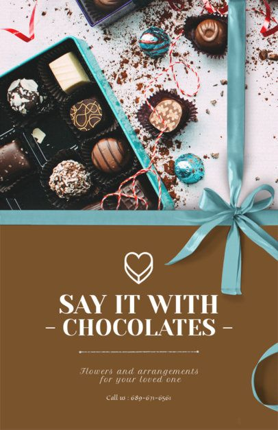Flyer Design Template for Chocolate and Flower Shops 859b