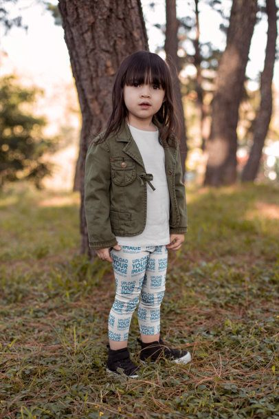 Mockup of a Little Girl Wearing Leggings and a Jacket for the Fall Weather 23927