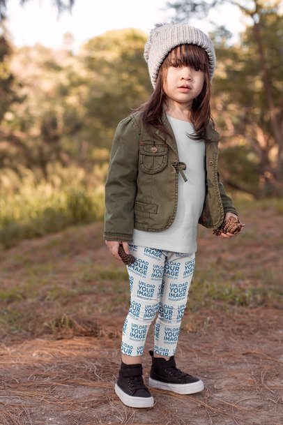 Leggings Mockup of a Little Girl on the Countryside 23930