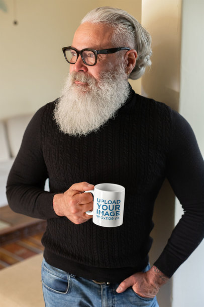 Mockup of a Smart Older Man Casually Holding His Coffee Mug 23987