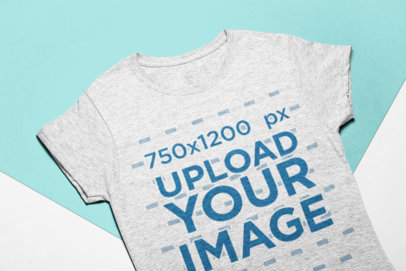 Heather Tee Mockup on a Bicolor Background 24253