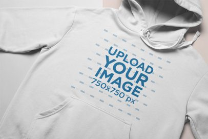 Closeup Mockup of a Hoodie Facing Upwards on a Duo Colored Surface 24266